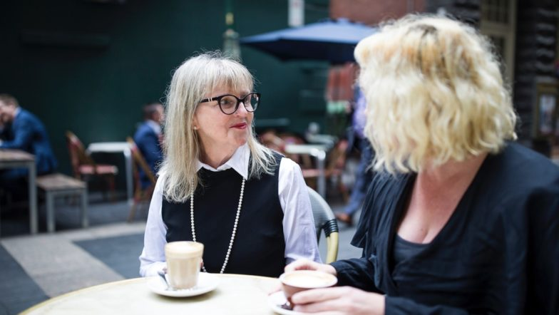 Two women having coffee