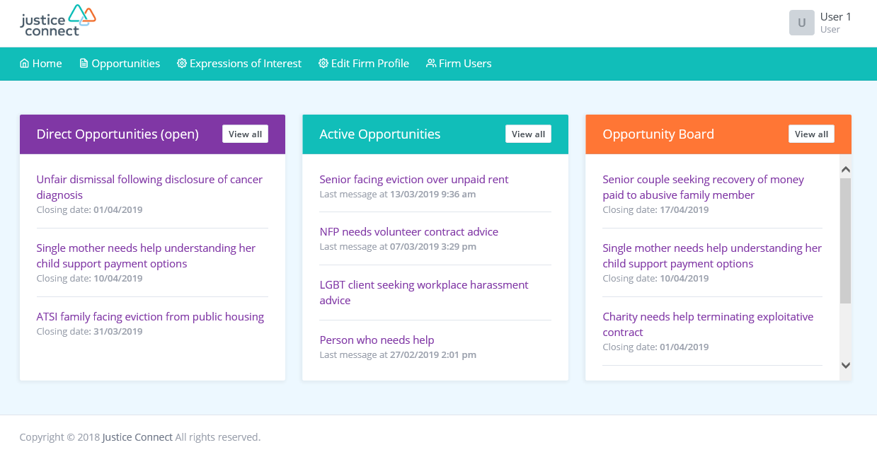 Image of pro bono portal firm landing page