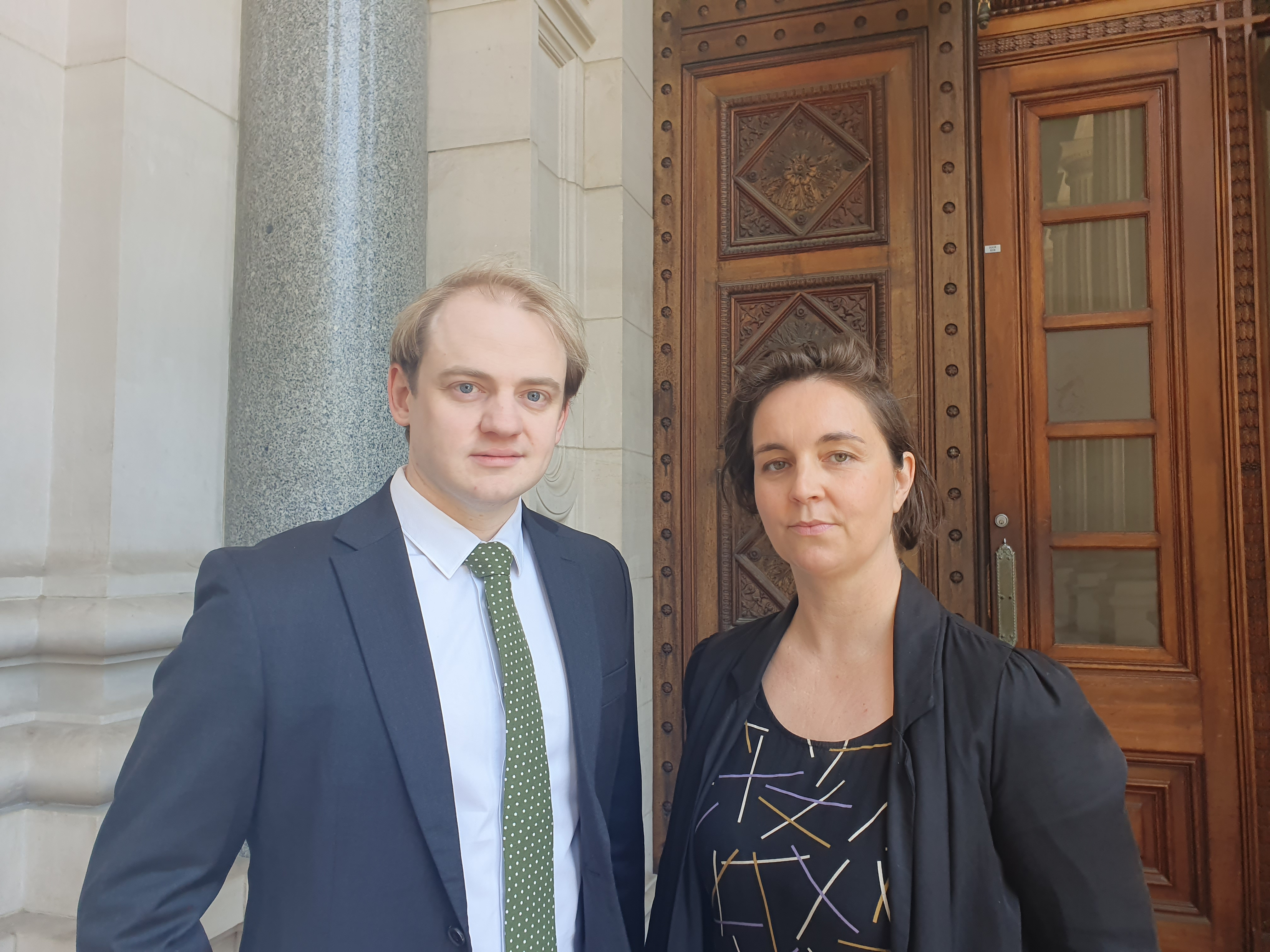 Cameron Lavery and Samantha Sowerwine outside first Victorian Parliament inquiry into homelessness