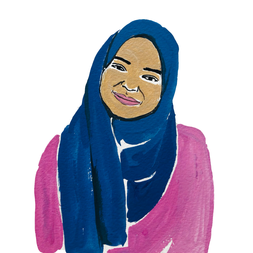 Illustration of a woman of colour smiling hearing a hijab