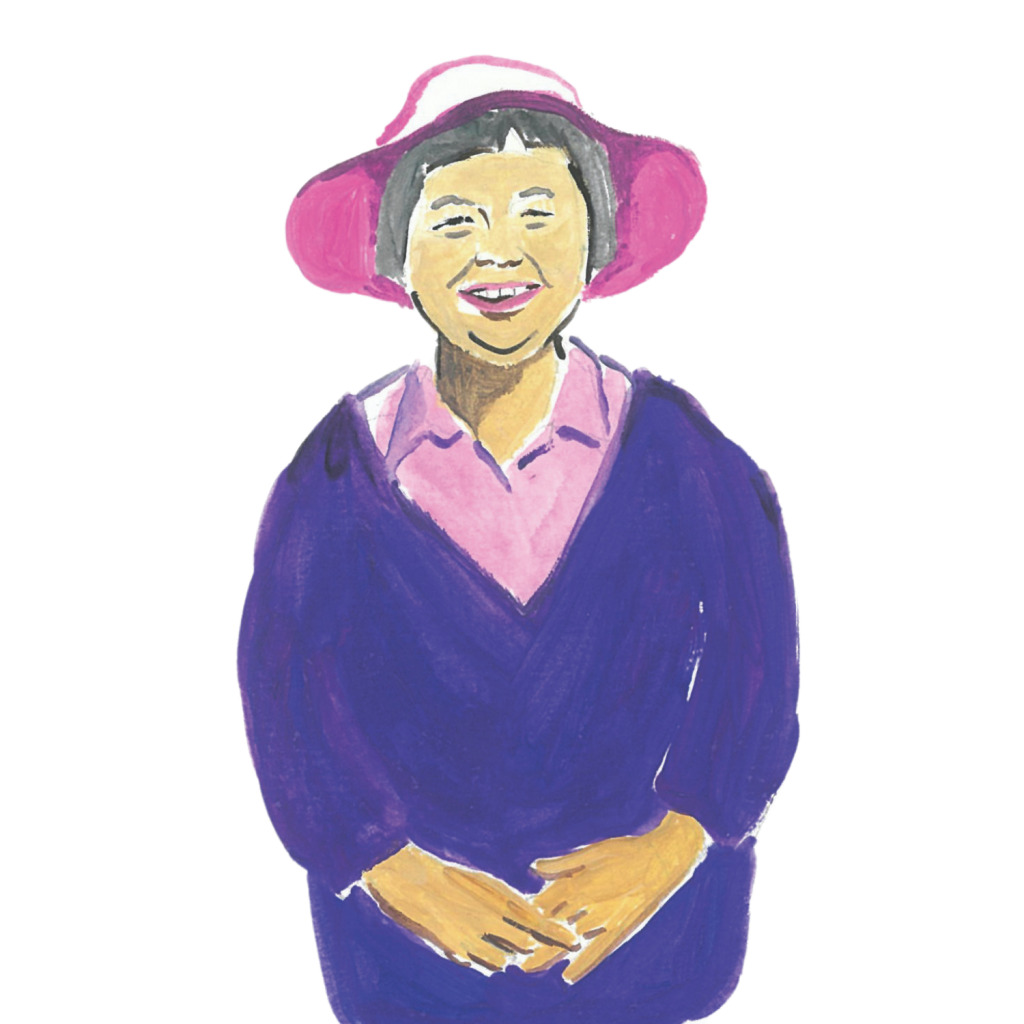 Illustration of elderly Asian woman smiling