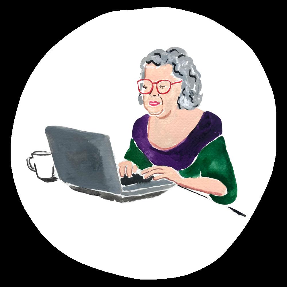 Illustration of older woman using her laptop