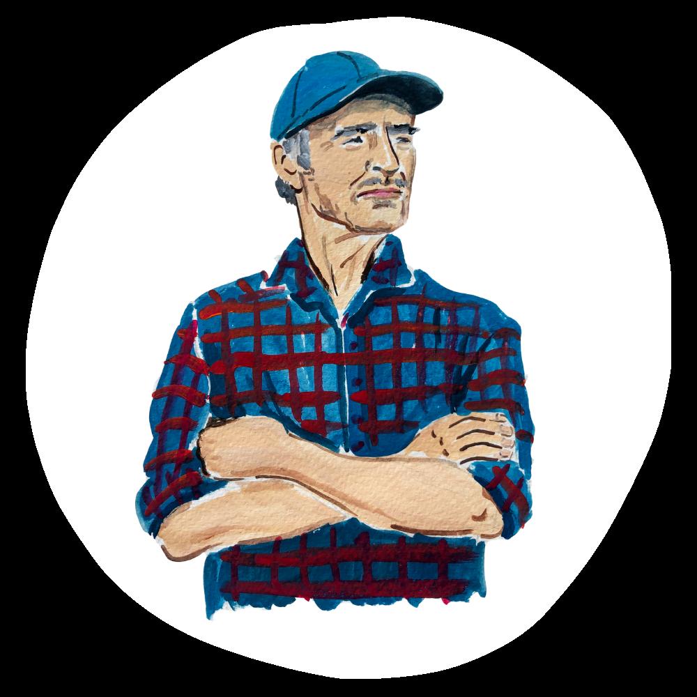 Illustration of white male farmer